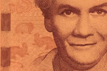 Carmen Lyra en el billete de 20,000 colones.