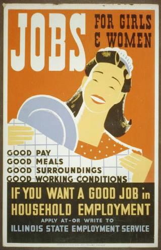 Publicidad estadounidense de mediados del siglo XX solicitando trabajo doméstico.