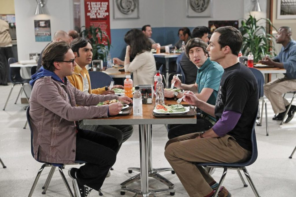 "LOS ANGELES - MARCH 25: ""The Relationship Diremption"" -- Sheldon faces a personal crisis after deciding he's wasting his time with string theory, on THE BIG BANG THEORY, Thursday, April 10 (8:00-8:31 PM, ET/PT) on the CBS Television Network. Pictured left to right: Johnny Galecki, Kunal Nayyar, Simon Helberg and Jim Parsons. (Photo by Sonja Flemming/CBS via Getty Images)"