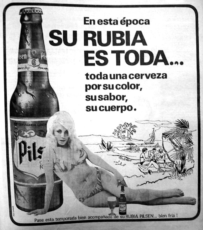 Publicidad de Pilsen, destinada al hombre.