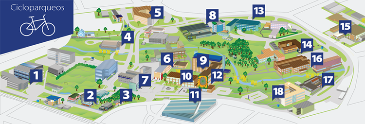 Distribución de los cicloparqueos en el campus central de la UCR.
