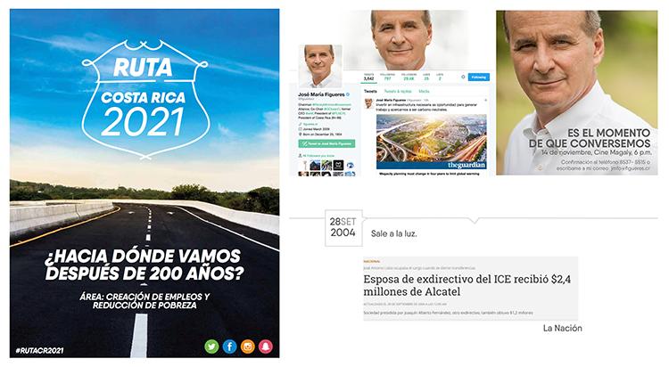 Compilado de piezas gráficas presentes en las redes sociales de Jose María Figueres.